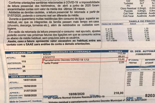 """""""Parcelamento Decreto COVID-19 1/12"""" na conta de água; SCA esclarece"""