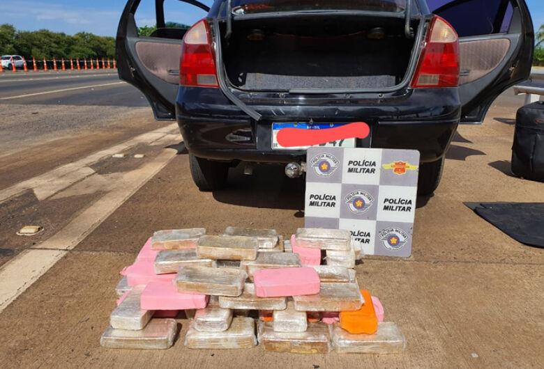 PM apreende mais 50Kg de pasta base de cocaína na rodovia Washington Luis