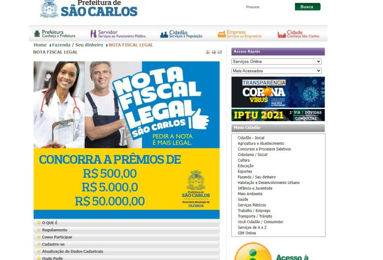 Nota Fiscal Legal: Em novembro tem prêmio extra de R$ 50 mil