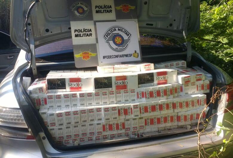 Polícia Rodoviária apreende carro 'recheado' de pacotes de cigarros