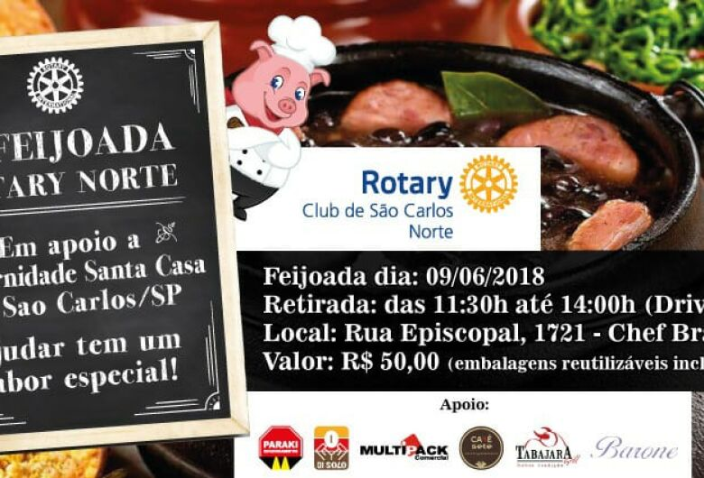 Rotary Club São Carlos-Norte promove a 16ª Tradicional Feijoada Beneficente