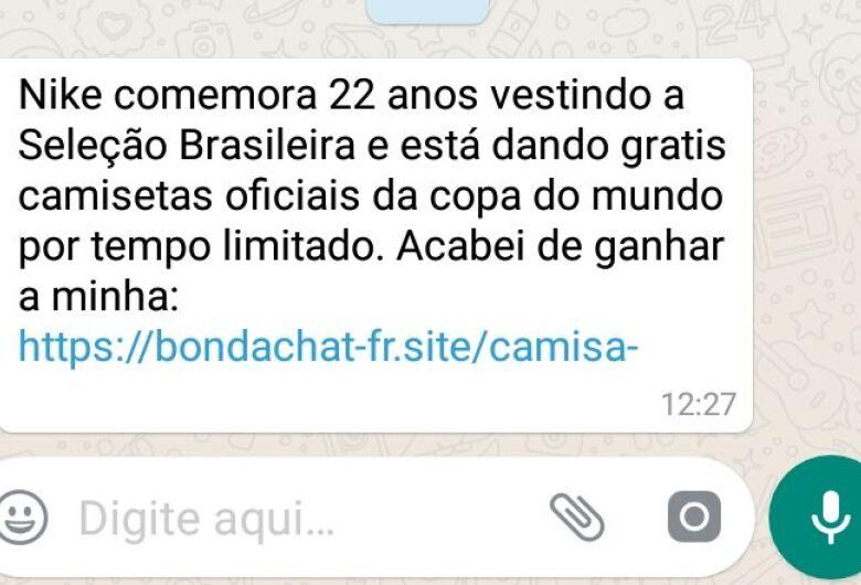 Golpe no WhatsApp promete camisa da Seleção Brasileira