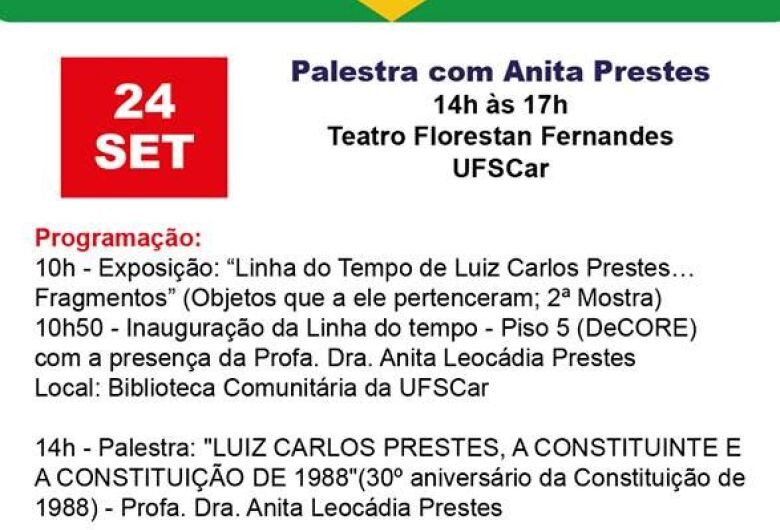 Anita Prestes profere palestra e inaugura mostra na UFSCar nesta segunda-feira, 24