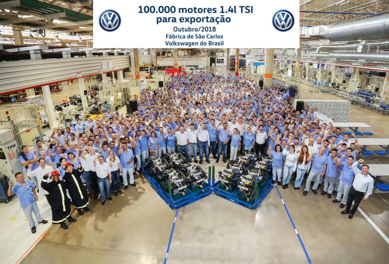 Fábrica da Volkswagen em São Carlos celebra a produção de 100 mil motores 1.4l TSI para exportação