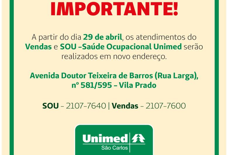 Atendimentos do SOU e Departamento de Vendas da Unimed São Carlos mudarão de endereço