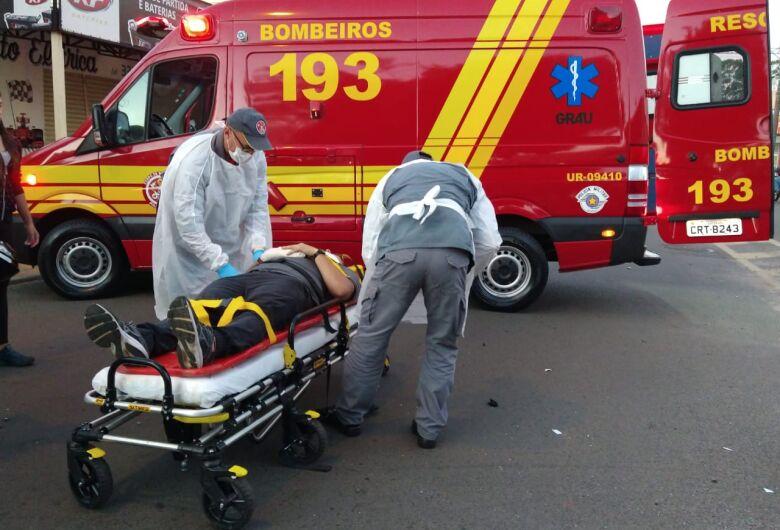 Acidente entre veículo e moto deixa duas pessoas feridas no Tangará