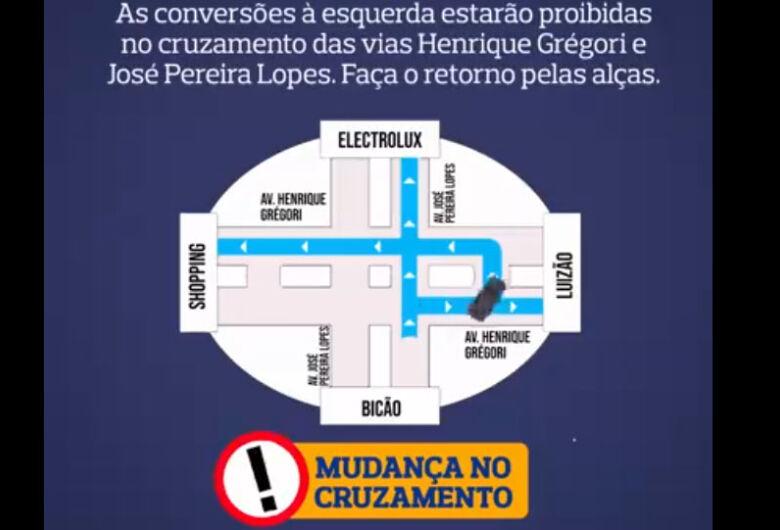 Vídeo explica mudanças no trânsito no cruzamento da Henrique Gregori com a José Pereira Lopes
