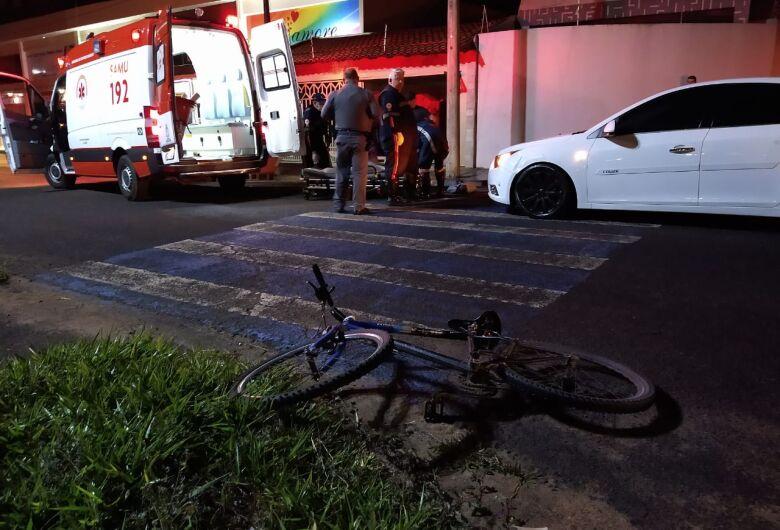 Ciclista fica ferido em acidente na região do terminal rodoviário