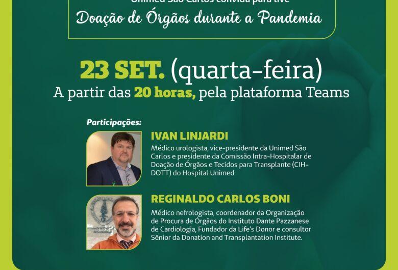 Unimed São Carlos realiza live sobre Doação de Órgãos durante a Pandemia