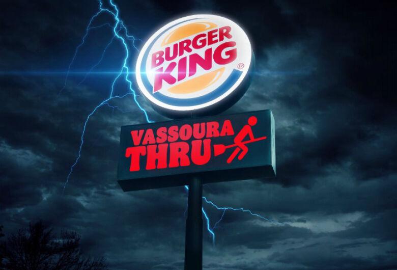 Após erro no site do Burger King, gerência confirma que loja do Passeio dará lanche de graça para quem for de vassoura no drive-thru