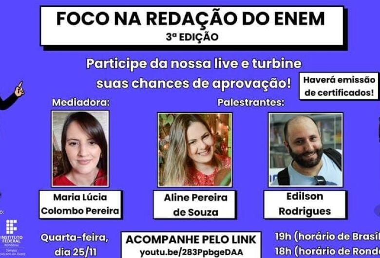 IFSP São Carlos faz live sobre redação no Enem
