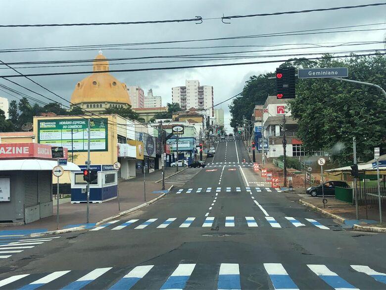 Centro de São Carlos vazio durante a pandemia - Crédito: arquivo/SCA