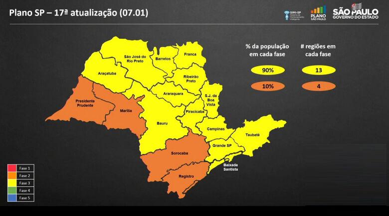 Mapa de regiões atualizado na última sexta-feira (8) - Crédito: reprodução