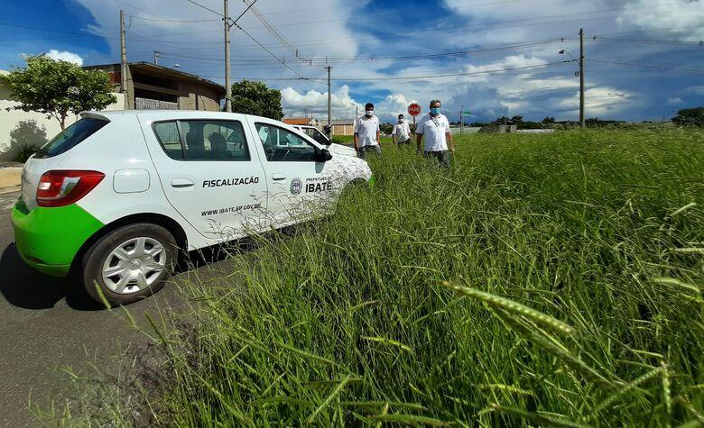Equipe de Fiscalização da Prefeitura de Ibaté faz inspeção em terreno com mato alto no bairro Domingos Valério - Crédito: divulgação