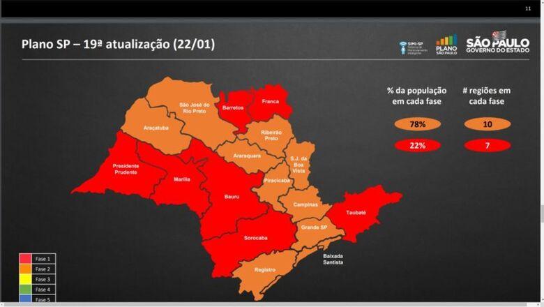 Mapa atualizado do Plano SP - Crédito: divulgação
