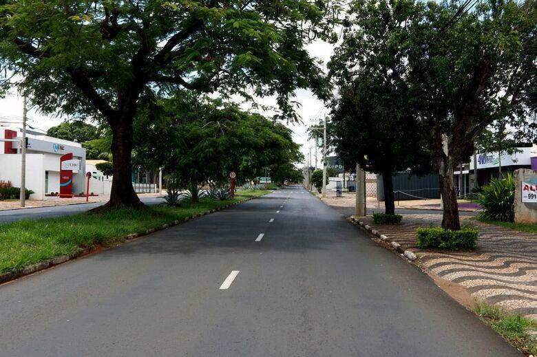 Rua de Araraquara vazia durante o lockdown - Crédito: Prefeitura Municipal