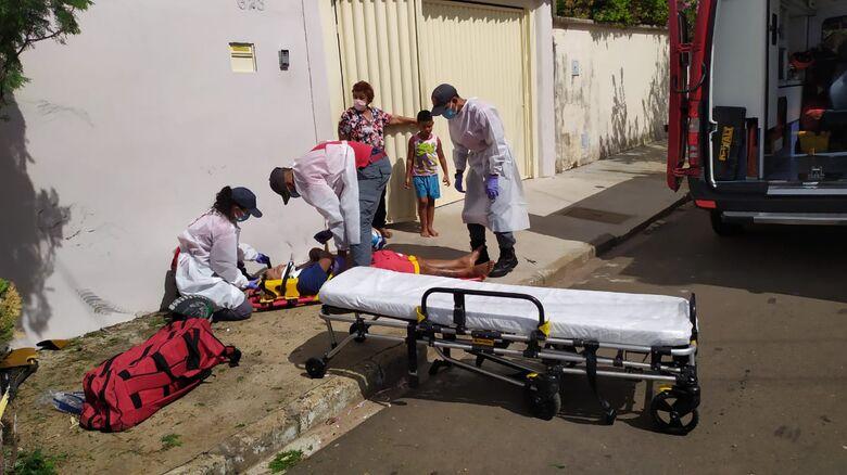 Garupa foi socorrido pela UR do Corpo de Bombeiros - Crédito: Maycon Maximino