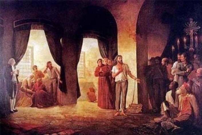 A leitura da sentença de Tiradentes. Pintura de Leopoldino Faria, 1921. - Crédito: divulgação