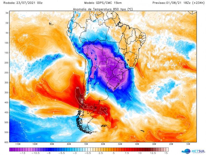 Onda de frio pode ser uma das mais intensas do século com sensação de -25º em alguns locais - Crédito: Metsul