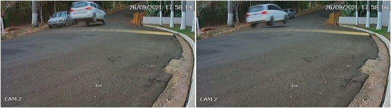 Câmera registrou fuga do veículo usado no roubo - Crédito: reprodução