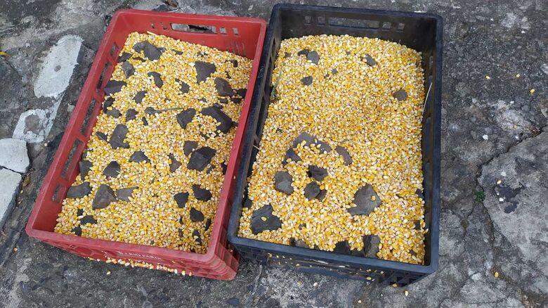 As caixas de milho que seriam furtadas pelo acusado - Crédito: Maycon Maximino