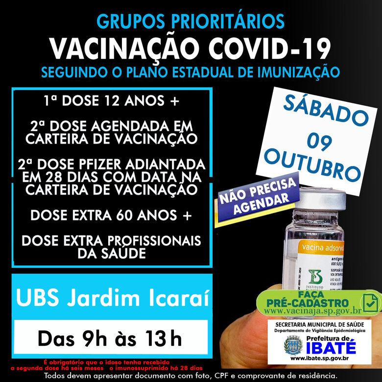 Ibaté terá plantão de vacinação contra a COVID-19, neste sábado (09) até às 13 horas -