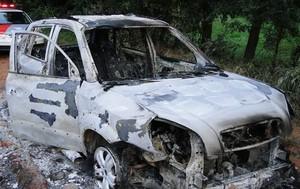 Veículo Tucson roubado foi encontrado queimado (foto: Descalvado Agora) -