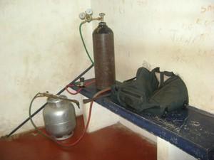 Maçarico utilizado para arrombar o caixa eletrônico (Foto: araraquara.com) -