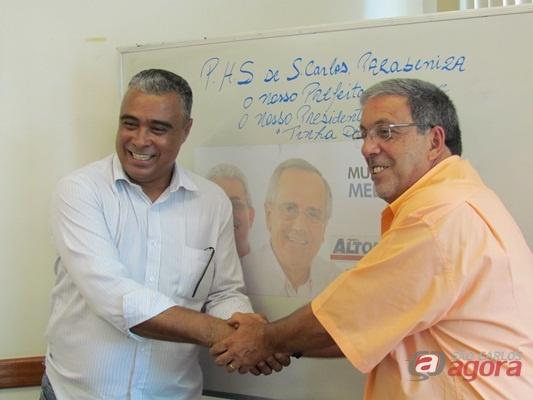 Tinha de Ferreira, presidente estadual do PHS e Dante Nonato, presidente municipal do PHS. (Fotos: Tiago da Mata / SCA) -
