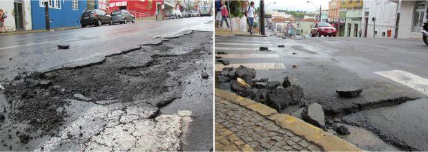 """Asfalto na Avenida São Carlos soltou com a enxurrada e """"pedras"""" ficaram espalhadas na via (Fotos: Tiago da Mata / SCA) -"""