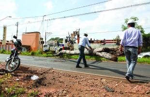 Funcionários da CPFL Paulista recolhem poste do meio da avenida. No detalhe, os danos. (Foto: Kris Tavares/Tribuna Impressa). -