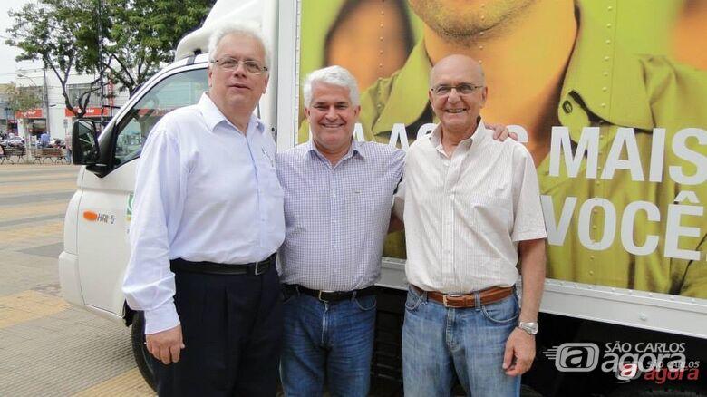 O presidente da Acisc, Alfredo Maffei Neto, Marquinho Amaral e o gerente José Horácio Petrilli -