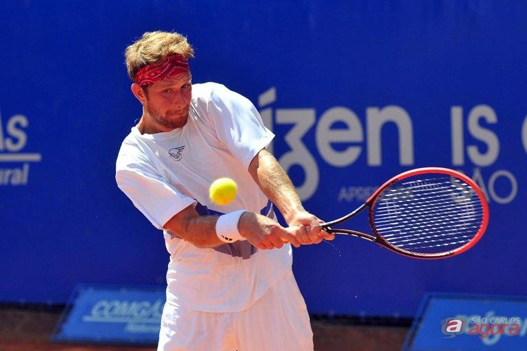 Caio Zampieri, cabeça de chave 2 e 372º da ATP, bateu o qualifier Augusto Laranja. Foto: João Pires/Jump -