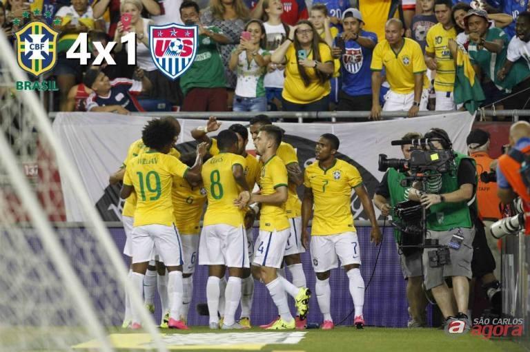 Festa brasileira. Jogadores comemoram um dos gols contra os EUA. Rafael Ribeiro/CBF -