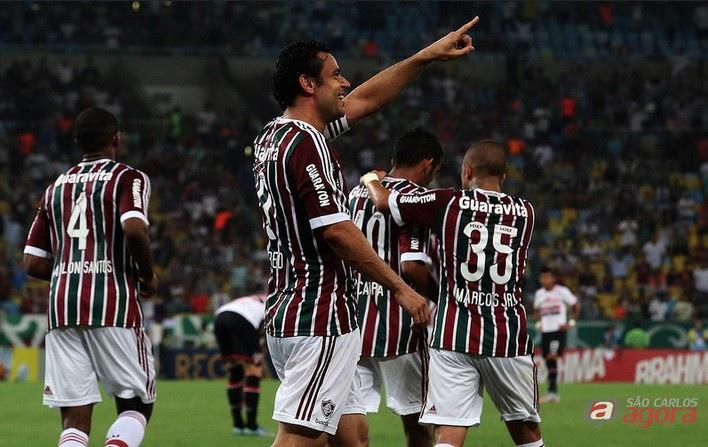 No Maracanã, Fred abriu o placar para o Fluminense diante do São Paulo. Foto: Nelson Perez/Fluminense FC -