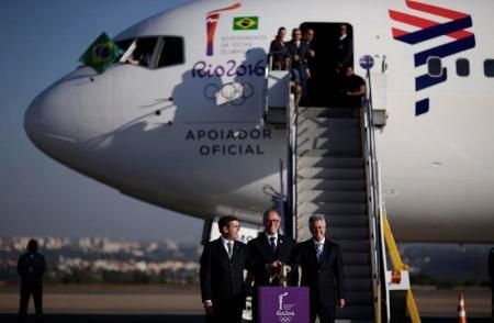 Chegada da chama olímpica ao Brasil. Foto: Reuters/Ueslei Marcelino -