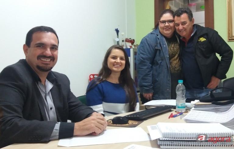 Da esquerda para a direita: vereador Julio Cesar, Bianca Bertacini, Karina Olivio e Toninho Bertacini. Foto: assessoria do vereador -