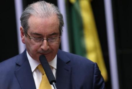 Eduardo Cunha discursa em sessão que resultou na cassação de seu mandato na Câmara dos Deputados, em Brasília. Foto: Reuters/Adriano Machado -