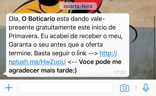 Golpe no WhatsApp usa vale-presente em O Boticário para enganar vítimas -