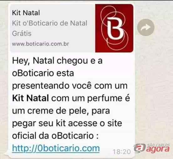 Golpe via Whatsapp promete maquiagem e kits de natal Boticário  -