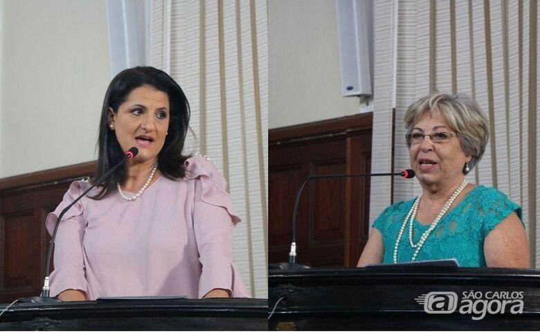 Patrícia Helena Paschoalotti Cartaxo e Elisabeth Márcia Martucci  durante a sessão de entrega dos títulos de Bibliotecárias do Ano - Crédito: Divulgação