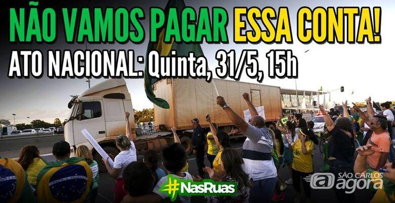 """São Carlos participa de ato nacional """"Não Vamos Pagar Essa Conta"""" -"""