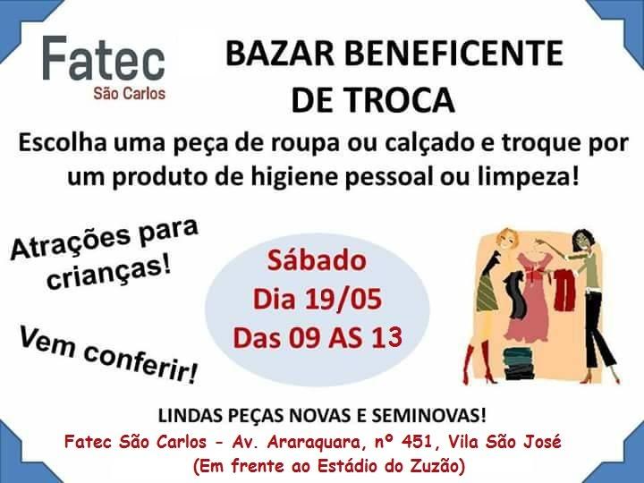 Fatec e Esterina Placco realizam Bazar Beneficente de Troca -