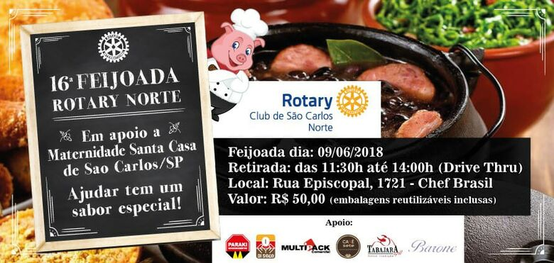 Rotary Club São Carlos-Norte promove a 16ª Tradicional Feijoada Beneficente -