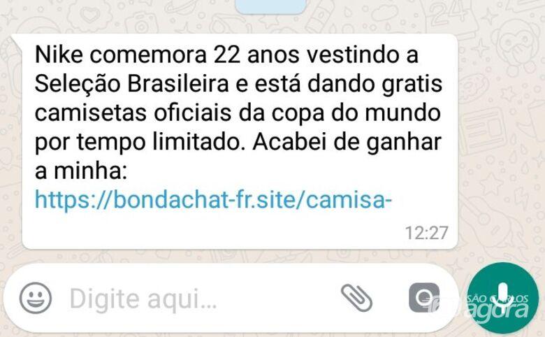 Golpe no WhatsApp promete camisa da Seleção Brasileira -