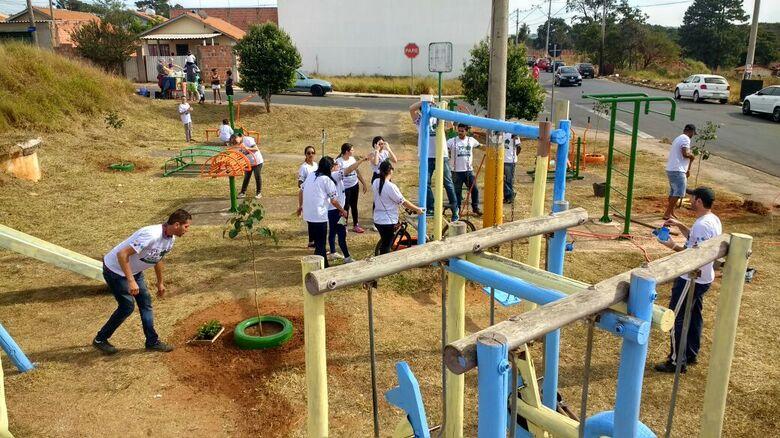 Praça remodelada no Zavaglia: ação social em prol da comunidade - Crédito: Divulgação