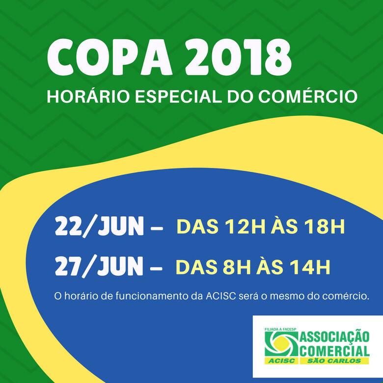 Acisc informa horário do comércio durante os próximos jogos do Brasil na Copa -