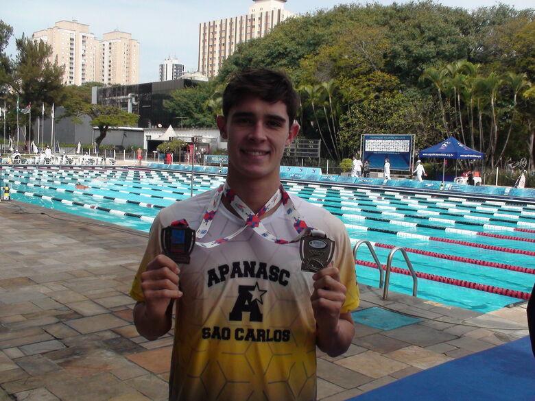 Nadador de São Carlos sobe ao pódio duas vezes no Campeonato Paulista de Inverno - Crédito: Divulgação
