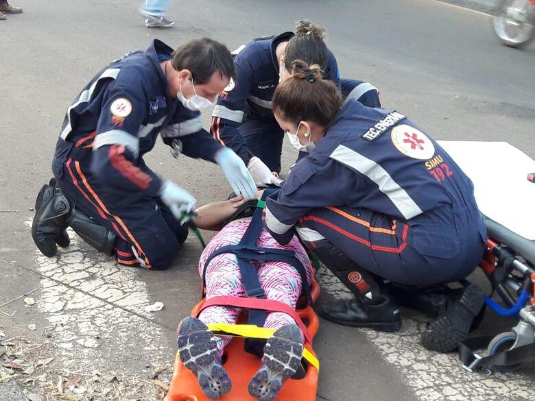 Motociclista fica ferida após colisão na região da USP - Crédito: Maycon Maximino