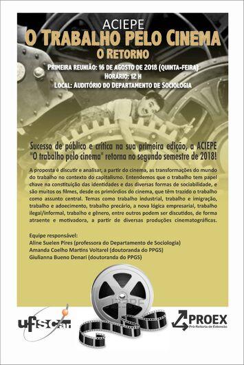 O trabalho pelo cinema é tema de atividade gratuita na UFSCar - Crédito: Divulgação
